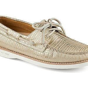 Sperry Gold Cup Gold Metallic Boat Loafers Shoes